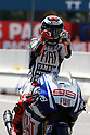 June 26, 2010 - Assen, Holland - Jorge Lorenzo celebrates his victory during the Duch Grand Prix    at Assen, Holland, on June 26, 2010. (Photo Andrew Northcott/Nippon News).