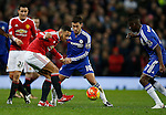Memphis Depay of Manchester United tussles with Eden Hazard of Chelsea - English Premier League - Manchester Utd vs Chelsea - Old Trafford Stadium - Manchester - England - 28th December 2015 - Picture Simon Bellis/Sportimage