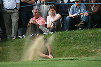 Paul McGinley plays out of the bunker at the 14th hole during the 3rd round of the 2008 BMW PGA Championship at Wentworth Club, Surrey, England 24th May 2008 (Photo by Eoin Clarke/GOLFFILE)
