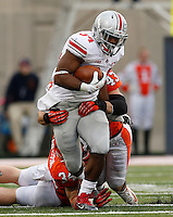 Ohio State Buckeyes running back Carlos Hyde (34) is tackled by Illinois Fighting Illini linebacker Mike Svetina (34) and Illinois Fighting Illini linebacker Mason Monheim (43) during Saturday's NCAA Division I football game at Memorial Stadium in Champaign, Il., on November 16, 2013. (Barbara J. Perenic/The Columbus Dispatch)
