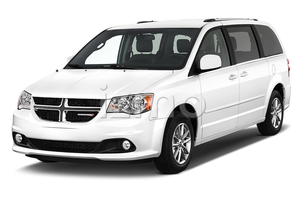 2015 Dodge Grand Caravan SXT PLUS 5 Door Minivan Angular Front stock photos of front three quarter view