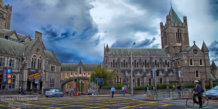 Looking at the beautiful Christ Church Cathedral in Dublin as a storm is brewing in the background.
