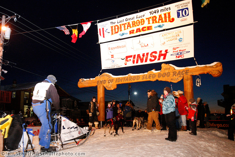 Tuesday March 17, 2010    John Baker at the finish linne in Nome places 5th .