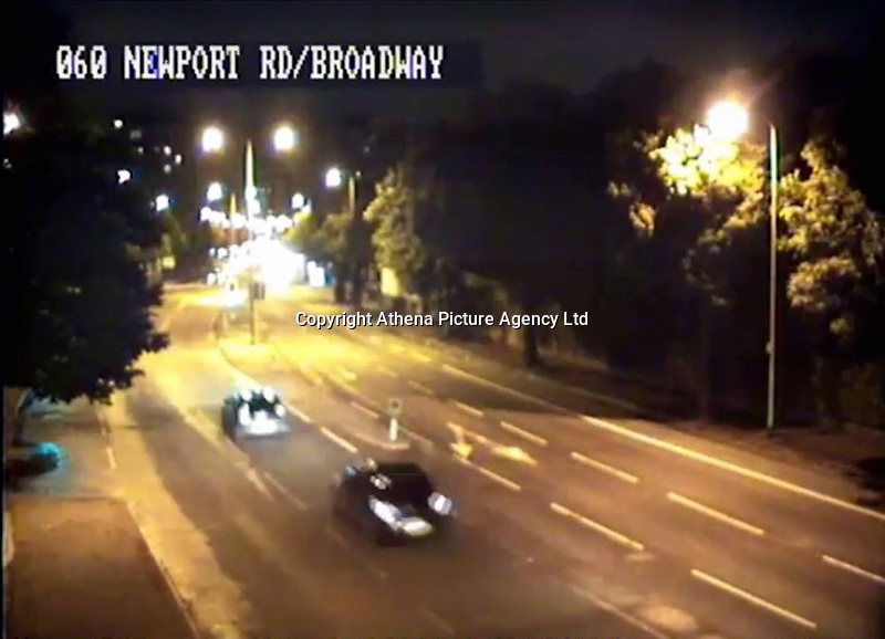 """Pictured: CCTV screen grab showing the BMW driven by Sophie Taylor chased by Melissa Pesticcio and Michael Wheeler<br /> Re: A woman and her ex-boyfriend who killed a """"love rival"""" after a car chase led to a crash have been jailed.<br /> Sophie Taylor, 22, died when her BMW hit a block of flats in Adamsdown, Cardiff, in August 2016.<br /> Melissa Pesticcio, 24, of Llanrumney, was convicted of death by dangerous driving and jailed for six-and-a-half years at Cardiff Crown Court.<br /> Michael Wheeler, 23, of Tremorfa, who admitted the same charge, was given a seven-and-a-half year sentence.<br /> Pesticcio was also convicted of causing serious injury by dangerous driving to Joshua Deguara, a passenger in Miss Taylor's car.<br /> Judge Thomas Crowther QC said """"the shattering of two families was completely avoidable"""" and was """"caused by you two being consumed by a self righteous and jealous rage, chasing her down to frighten her and teach her a lesson""""."""