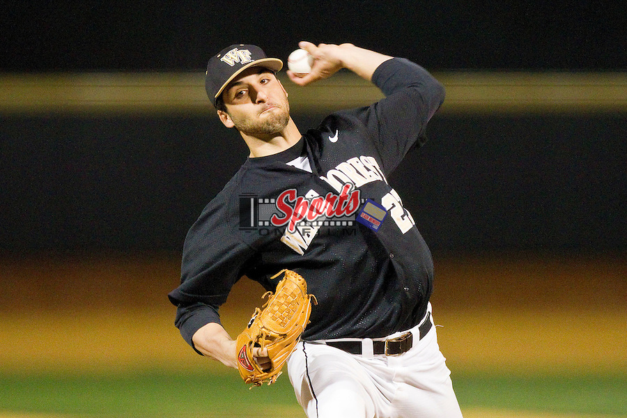 Niko Spezial (27) of the Wake Forest Demon Deacons delivers a pitch to the plate against the West Virginia Mountaineers at Wake Forest Baseball Park on February 24, 2013 in Winston-Salem, North Carolina.  The Demon Deacons defeated the Mountaineers 11-3.  (Brian Westerholt/Sports On Film)