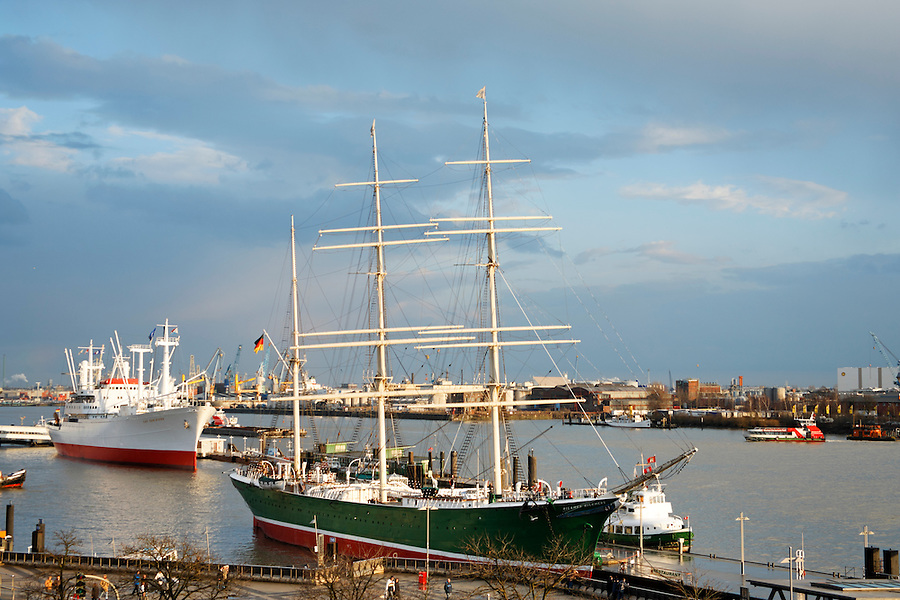 Tall ship freighter Rickmer Rickmers (circ. 1896) at port on Elbe River, Hamburg, Germany