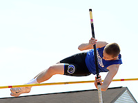 Quakertown's Jake Harcher competes in the pole vault at the Central Bucks West Relays Saturday April 18, 2015 in Doylestown, Pennsylvania.  (Photo by William Thomas Cain/Cain Images)