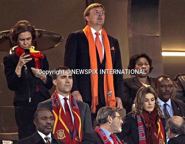 "QUEEN SOFIA, CROWN PRINCE WILLEM-ALEXANDER, CROWN PRINCE FELIPE AND CROWN PRINCESS LETIZIA .at the FIFA World Cup 2010 Final, Soccer City Johannesburg South Africa_11/07/2010  .Mandatory Credit Photos: ©Newspix International..**ALL FEES PAYABLE TO: ""NEWSPIX INTERNATIONAL""**..PHOTO CREDIT MANDATORY!!: NEWSPIX INTERNATIONAL(Failure to credit will incur a surcharge of 100% of reproduction fees)..IMMEDIATE CONFIRMATION OF USAGE REQUIRED:.Newspix International, 31 Chinnery Hill, Bishop's Stortford, ENGLAND CM23 3PS.Tel:+441279 324672  ; Fax: +441279656877.Mobile:  0777568 1153.e-mail: info@newspixinternational.co.uk"