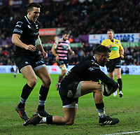 Ospreys' Rhys Webb scores his side's third try.<br /> <br /> Photographer Dan Minto/CameraSport<br /> <br /> Guinness Pro14 Round 13 - Ospreys v Cardiff Blues - Saturday 6th January 2018 - Liberty Stadium - Swansea<br /> <br /> World Copyright &copy; 2018 CameraSport. All rights reserved. 43 Linden Ave. Countesthorpe. Leicester. England. LE8 5PG - Tel: +44 (0) 116 277 4147 - admin@camerasport.com - www.camerasport.com