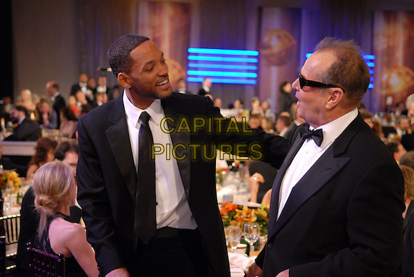"WILL SMITH & JACK NICHOLSON.Telecast - 64th Annual Golden Globe Awards, Beverly Hills HIlton, Beverly Hills, California, USA..January 15th 2007. .globes half length black suit jacket profile sunglasses shades.CAP/AW.Please use accompanying story.Supplied by Capital Pictures.© HFPA"" and ""64th Golden Globe Awards"""