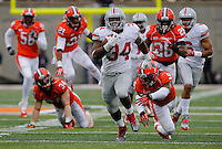 Ohio State Buckeyes running back Carlos Hyde (34) runs to score his first touchdown in the fourth quarter of their game against the Fighting Illini at Memorial Stadium in Champaign, Ill on November 16, 2013. (Columbus Dispatch photo by Brooke LaValley)