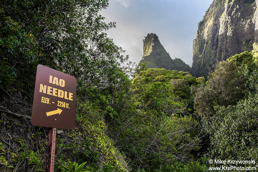 Sign w/ arrow pointing to Iao Needle, Iao Valley State Park, Wailuku, Maui