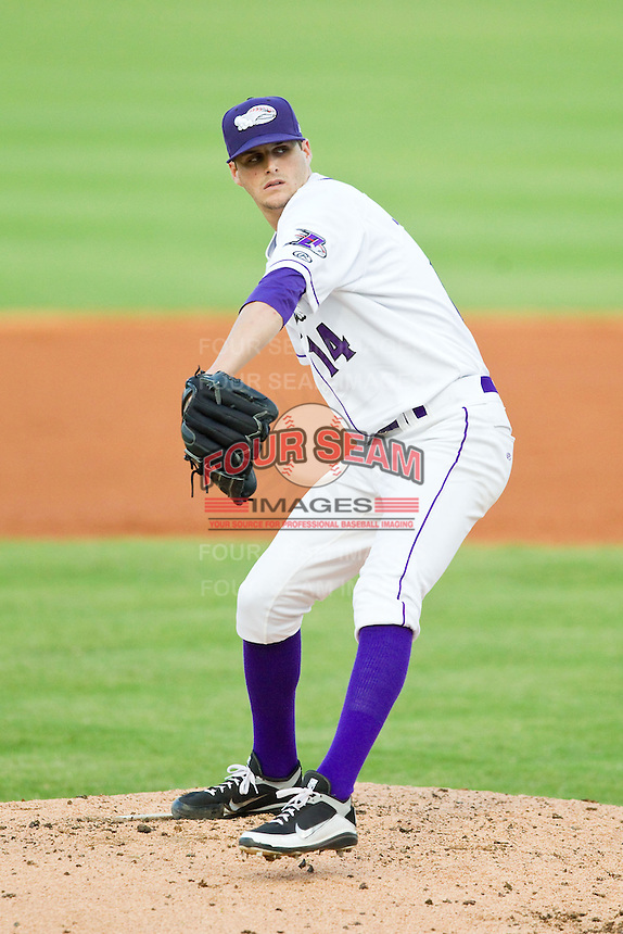Winston-Salem Dash starting pitcher Myles Jaye (14) in action against the Carolina Mudcats at BB&T Ballpark on July 25, 2013 in Winston-Salem, North Carolina.  The Mudcats defeated the Dash 5-4.  (Brian Westerholt/Four Seam Images)
