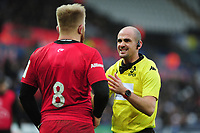 Jackson Wray of Saracens speaks with Referee Alexandre Ruiz during the Heineken Champions Cup Round 5 match between the Ospreys and Saracens at the Liberty Stadium in Swansea, Wales, UK. Saturday January 11 2020.