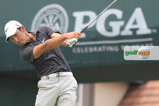 Charl Schwartzel (RSA) on the 1st on day 1 of  the 93rd PGA Championship, The Atlanta Athletic Club, Johns Creek, Atlanta Georgia 11/8/11.Picture Fran Caffrey www.golffile.ie