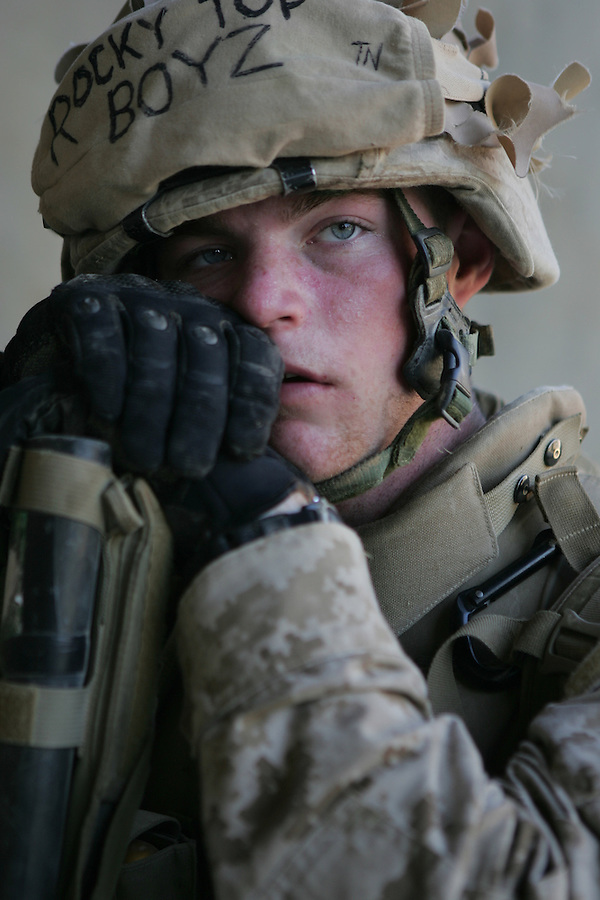 A Marine from Lima Co. 3rd Battalion 6th Marines during Operation Steel Curtain in Karabilah, Iraq on Fri. Nov. 11, 2005.