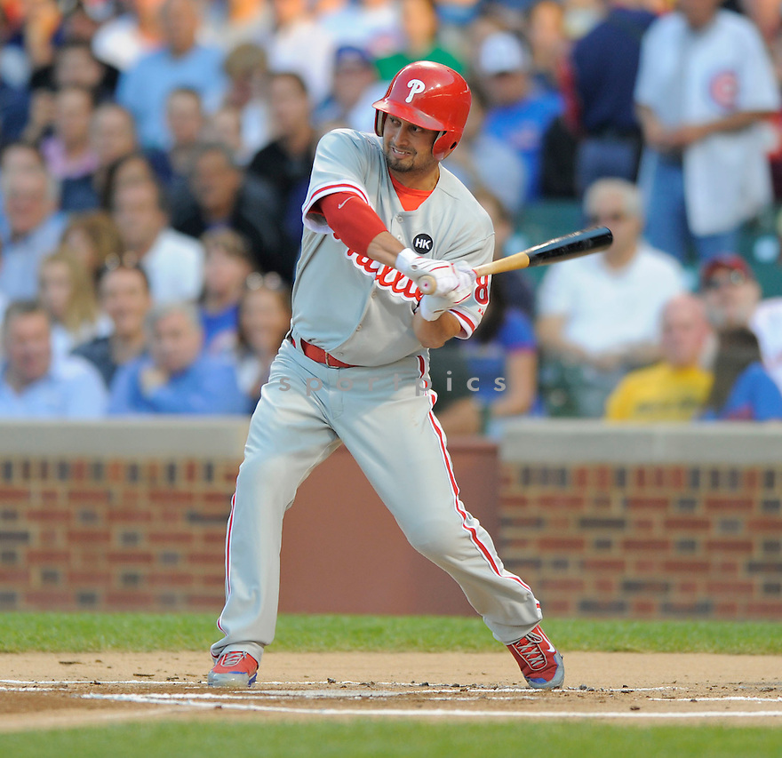 SHANE VICTORINO,  of the Philadelphia Phillies in action during the Phillies game against the Chicago Cubs.  The  Phillies beat the Cubs 12-5 in Chicago, Illinois on August 12, 2009...David Durochik