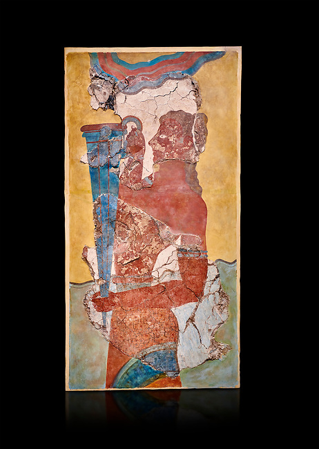 The Minoan 'Cup Bearer' from the 'Procession Fresco', wall art from the South Prpylaeum, Knossos Palace, 1500-1400 BC . Heraklion Archaeological Museum. Black Background. <br /> <br /> The 'Cup Bearer' depicts a youth with long black hair, a naked torso and a richly decorated kilt carrying a large silver rhuyhon ceremonial vessel. This large Minoan fresco of many figure in procession would have decorated the corridor between the West Porch and the South Propylaeum of Knossos Palace. Both sides of the corridor were painted with hundreds of male and femal;e figures carrying precious utensils and vessels, probably depicting gift bearers to the ruler of the Palace. The composition is much like those found in the Palaces and tombs of Egypt and the near east at the time. Neopalatial final period.
