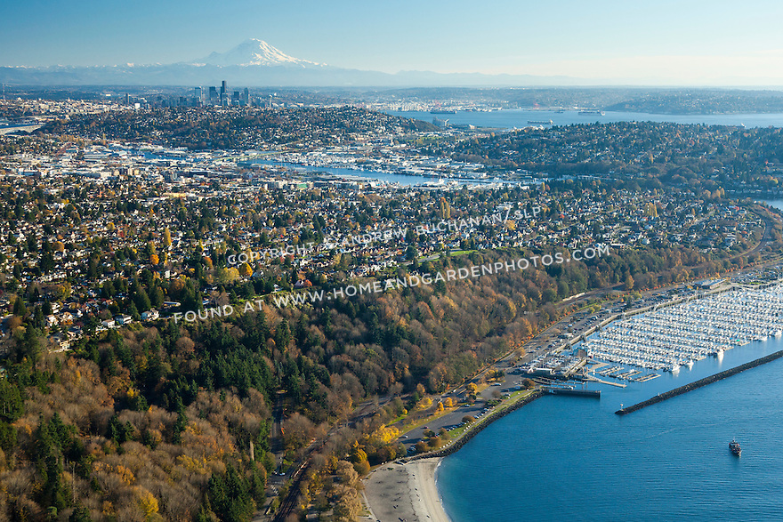 Aerial photo of Golden Gardens Park and Shilshole Marina in Seattle