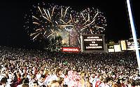 Jan 7, 2010; Pasadena, CA, USA; Fireworks explode over the Rose Bowl as Alabama fans watch pregame warm-ups before the 2010 BCS national championship game between the Alabama Crimson Tide and the Texas Longhorns. Alabama won 37-21. Mandatory Credit: Mark J. Rebilas-