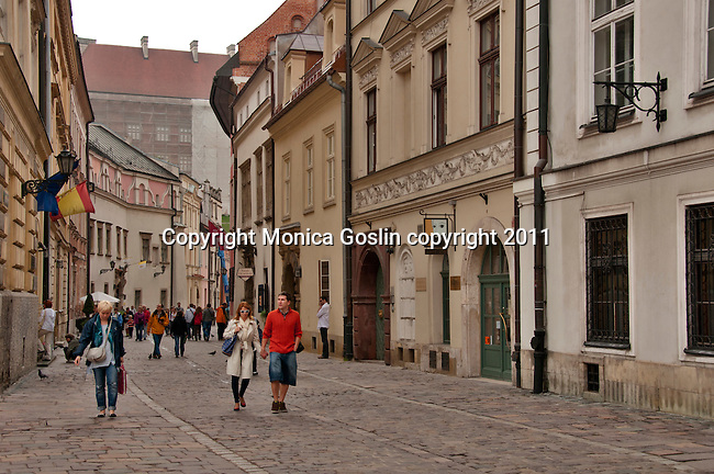 Looking down the Kanonicza Street in Krakow, Poland which leads to Wawel Castle