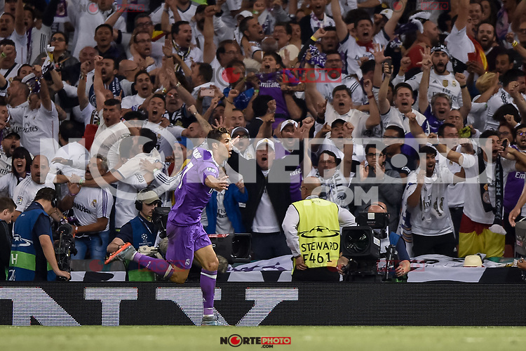 Cristiano Ronaldo of Real Madrid celebrates scoring during the UEFA Champions League Final match between Real Madrid and Juventus at the National Stadium of Wales, Cardiff, Wales on 3 June 2017. Photo by Giuseppe Maffia.<br /> <br /> Giuseppe Maffia/UK Sports Pics Ltd/Alterphotos /nortephoto.com