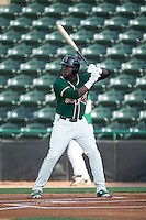 K.J. Woods (32) of the Greensboro Grasshoppers at bat against the Hickory Crawdads at L.P. Frans Stadium on May 6, 2015 in Hickory, North Carolina.  The Crawdads defeated the Grasshoppers 1-0.  (Brian Westerholt/Four Seam Images)
