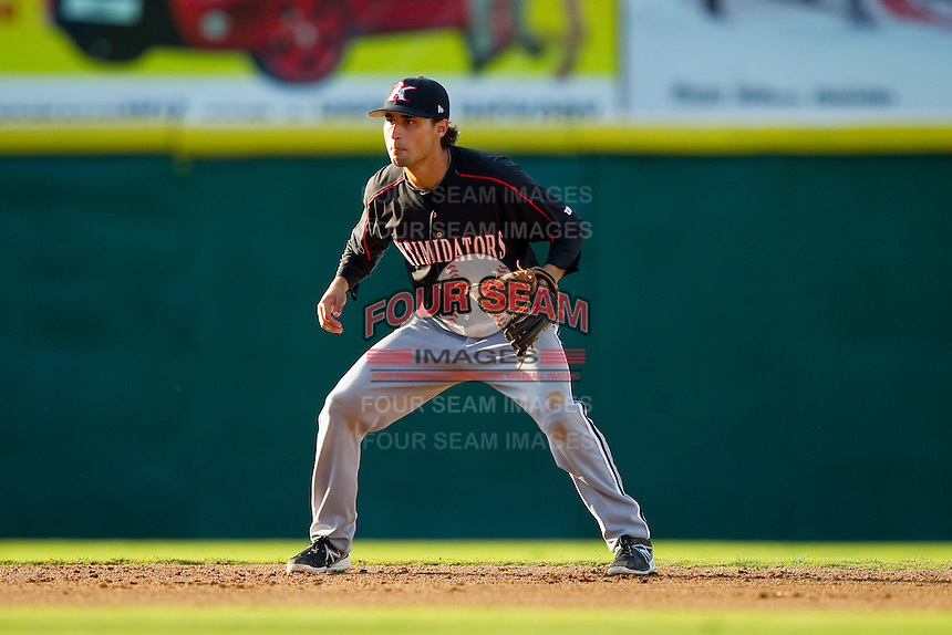 Kannapolis Intimidators shortstop Michael Johnson (5) on defense against the Hickory Crawdads at L.P. Frans Stadium on May 25, 2013 in Hickory, North Carolina.  The Crawdads defeated the Intimidators 14-3.  (Brian Westerholt/Four Seam Images)