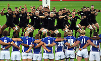 New Zealand perform the haka prior to the match. Rugby World Cup Pool C match between New Zealand and Namibia on September 24, 2015 at The Stadium, Queen Elizabeth Olympic Park in London, England. Photo by: Patrick Khachfe / Onside Images