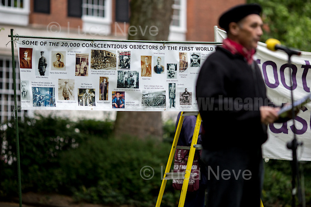 Sir Mark Rylance (British actor, theatre director, playwright, Academy Award and BAFTA Award winner).<br /> <br /> London, 15/05/2017. To mark and commemorate Conscientious Objectors' Day members of the public gathered at the Conscientious Objectors' stone Memorial in Tavistock Square. Every year a Ceremony (speeches, poetry, music and a minute of silence) takes place in London to remember the courage of the Conscientious Objectors, people &quot;who has claimed the right to refuse to perform military service&quot; (Source - Wikipedia.org). The event was organised by: Peace Pledge Union, Pax Christi, Conscience: Taxes for Peace not War, Movement for the Abolition of War and Veterans For Peace UK. From the organisers Facebook event page: &lt;&lt;Guest speakers: Sir Mark Rylance and Nick Jeffrey (Vietnam War draft resister). We gather each year at the Conscientious Objectors&rsquo; stone for the annual ceremony in honour of COs past and present [&hellip;] of all countries and all times [&hellip;]&gt;&gt;.<br /> <br /> For more information please click here: https://www.facebook.com/events/448803792133266/