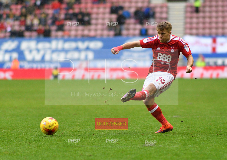 25/02/2017 Sky Bet Championship Wigan Athletic v Nottingham Forest<br /> <br /> Jamie Ward, Nottingham Forest FC