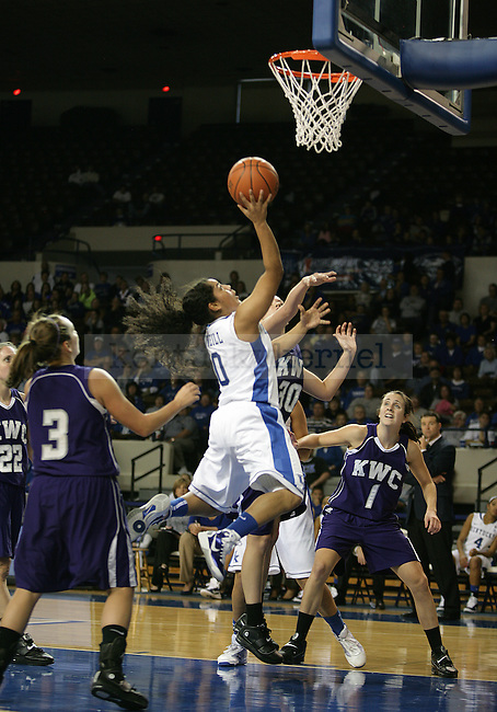 Jennifer O'Neill attempts a layup in exhibition play against Kentucky Wesleyan at Memorial Coliseum on November 7, 2010. Photo by Ryan Buckler   Staff