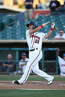 Avery Romero (20) of the Lancaster JetHawks bats against the Visalia Rawhide at The Hanger on August 9, 2017 in Lancaster, California. Lancaster defeated Visalia, 7-4. (Larry Goren/Four Seam Images)
