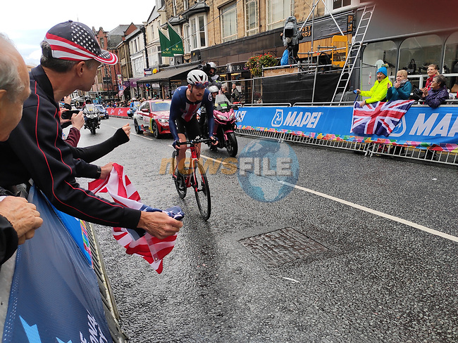 Quinn Simmons of USA climbs Parliment Street in Harrogate on his way to winning the Men's Junior Road Race of the UCI World Championships 2019 running 148km from Richmond to Harrogate, England. 26th September 2019.<br /> Picture: Seamus Yore | Cyclefile<br /> <br /> All photos usage must carry mandatory copyright credit (© Cyclefile | Seamus Yore)