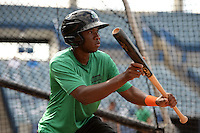 Daytona Tortugas second baseman Carlton Daal (4) in the batting cage during practice before a game against the Tampa Yankees on April 24, 2015 at George M. Steinbrenner Field in Tampa, Florida.  Tampa defeated Daytona 12-7.  (Mike Janes/Four Seam Images)