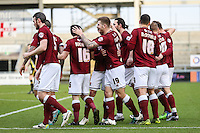 James Collins of Northampton Town (19) celebrates scoring the opening goal against Morecambe during the Sky Bet League 2 match between Northampton Town and Morecambe at Sixfields Stadium, Northampton, England on 23 January 2016. Photo by David Horn / PRiME Media Images.