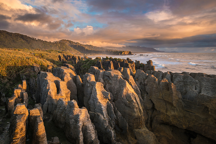 Sunset picture of the famous pancake rocks at Punakaiki, West Coast, South Island, New Zealand - stock photo, canvas, fine art print