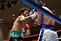 (L-R) Rikki Naito, Yusuke Nakagawa (JPN),<br /> APRIL 10, 2017 - Boxing :<br /> Rikki Naito of Japan in action against Yusuke Nakagawa of Japan during the fourth round of the 8R lightweight bout at Korakuen Hall in Tokyo, Japan. (Photo by Hiroaki Yamaguchi/AFLO)