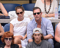 FLUSHING NY- SEPTEMBER 10: Christy Turlington and Edward Burns are sighted watching Angelique Kerber Vs Karolina Pliskova during the womens finals on Arthur Ashe Stadium at the USTA Billie Jean King National Tennis Center on September 10, 2016 in Flushing Queens. Credit: mpi04/MediaPunch