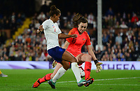 Nikita Parris of England takes the ball around Mackenzie Arnold of Australia during the Women's International friendly match between England Women and Australia at Ashton Gate, Bristol, England on 9 October 2018. Photo by Bradley Collyer / PRiME Media Images.
