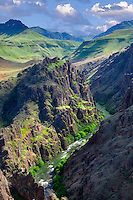Imnaha canyon and river. Hells Canyon National Recreation Area, Oregon Clouds have been digitally placed in sky.
