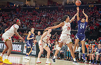 COLLEGE PARK, MD - JANUARY 26: Jordan Hamilton #24 of Northwestern sends a long shot past Stephanie Jones #24 of Maryland during a game between Northwestern and Maryland at Xfinity Center on January 26, 2020 in College Park, Maryland.