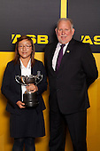 Fred Revell from ASB with Sportswoman of the Year Lydia Ko. ASB College Sport Young Sportsperson of the Year Awards held at Eden Park, Auckland, on November 24th 2011.