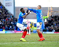 Goalscorer Omar Bogle of Portsmouth left celebrates with James Vaughan of Portsmouth  during Portsmouth vs Doncaster Rovers, Sky Bet EFL League 1 Football at Fratton Park on 2nd February 2019