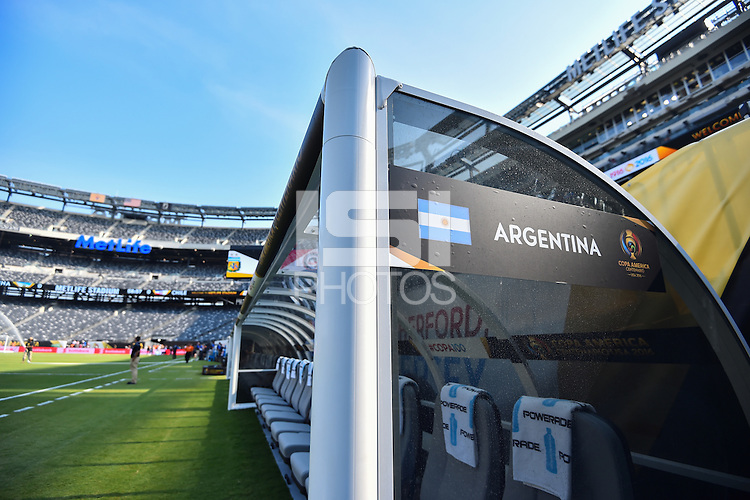 East Rutherford, NJ - Sunday June 26, 2016: Argentina bench prior to a Copa America Centenario finals match between Argentina (ARG) and Chile (CHI) at MetLife Stadium.