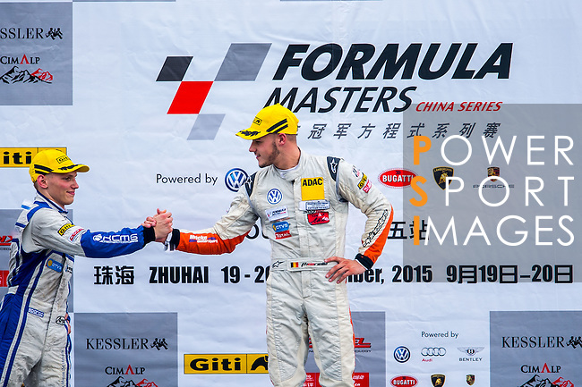 Alessio Picariello of Belgium and Absolute Racing; Martin Rump of Estonia and Cebu Pacific Air by KCMG celebrates after wining the Formula Masters China Series as part of the 2015 Pan Delta Super Racing Festival at Zhuhai International Circuit on September 20, 2015 in Zhuhai, China.  Photo by Aitor Alcalde/Power Sport Images