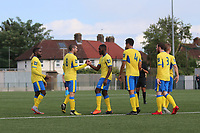 Chinedu McKenzie of Haringey scores and celebrates during Haringey Borough vs Stanway Rovers, Emirates FA Cup Football at Coles Park Stadium on 25th August 2018