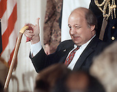 "Former White House press secretary James S. Brady flashes a ""thumbs-up"" as he arrives for the ""Brady Bill"" signing ceremony in the East Room of the White House in Washington, D.C. on November 30, 1993.  Brady passed away on Monday, August 4, 2014.<br /> Credit: Ron Sachs / CNP"