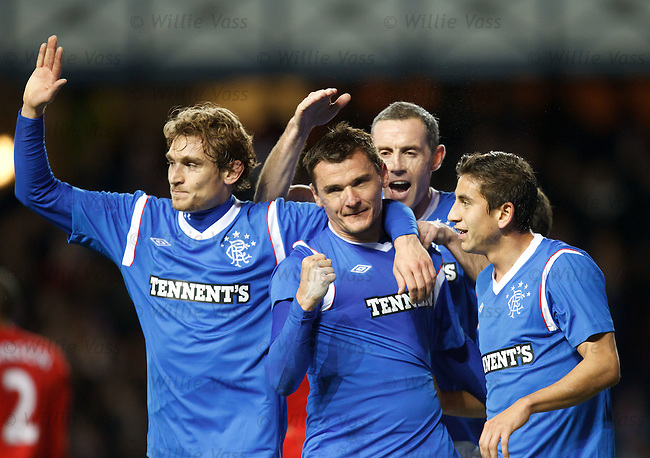 Lee McCulloch celebrates his goal for Rangers
