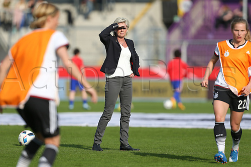 12.04.2016. Osnabruck, Germany.  German national coach Silvia Neid watches her players during warm-ups ahead of the women's European Championships qualifying soccer match between Germany and Croatia in the osnatel Arena